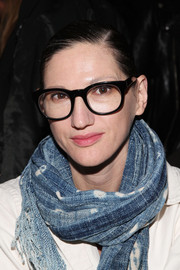 Jenna Lyons stuck to her customary side-parted bun when she attended the Public School fashion show.