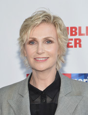 Jane Lynch opted for a layered razor cut when she attended the Public Theater's 2014 Gala.