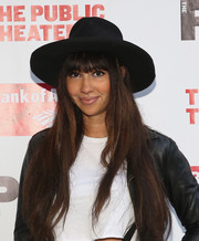 Jackie Cruz arrived for the opening of 'The Tempest' wearing a cool black walker hat.