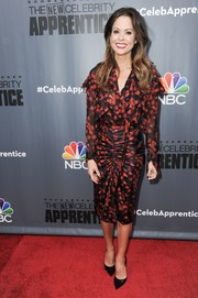 Brooke Burke-Charvet donned a long-sleeve red and black print blouse for the 'New Celebrity Apprentice' Q&A.