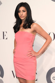 Reshma Shetty wore a simple strapless dress in a lovely salmon hue to the QVC 25 to Watch party.