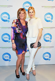 Kelly Rutherford topped off her vibrant dress with platform peep-toe pumps.