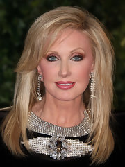 Morgan Fairchild looked dazzling at the QVC Red Carpet Style event with her face-framing straight 'do and elaborate jewelry.