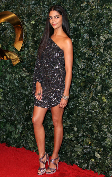 More Pics of Camila Alves Strappy Sandals (3 of 4) - Heels Lookbook - StyleBistro [clothing,dress,shoulder,cocktail dress,red carpet,leg,fashion,footwear,thigh,long hair,arrivals,camila alves,style,los angeles,california,qvc red carpet,party,qvc red carpet style party]