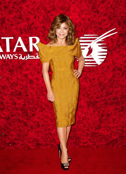 Paula Abdul wore a sculpted off-the-shoulder gown to the Qatar Airways Los Angeles Gala.