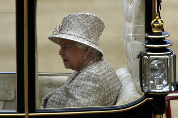 Queen Elizabeth II Decorative Hat [window,glass,hat,elizabeth ii,queen,horse,carriage,horseguards parade,england,london,trooping the colour]