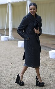 Thandie Newton kept her look at the British Film Industry Reception classy and sophisticated with this tweed coat.
