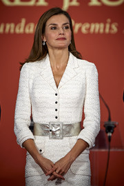 Queen Letizia of Spain styled her tweed outfit with a wide silver belt for the Rey Jaime I Awards.