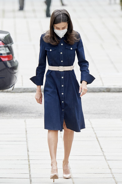 Queen Letizia of Spain looked youthful in a blue denim shirtdress by Hugo Boss while headed to a meeting in Madrid.