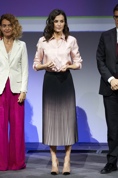 Queen Letizia of Spain was business-chic in a pink silk button-down at the Rare Diseases World Day event.