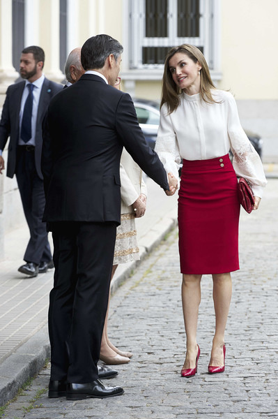 More Pics of Queen Letizia of Spain Pumps (5 of 17) - Heels Lookbook - StyleBistro [photograph,clothing,suit,formal wear,standing,lady,snapshot,fashion,gesture,white-collar worker,letizia o spain attends 10th anniversary,queen,microfinanzas bbva,spain,madrid,microfinanzas bbva foundation,bbva bank foundation]