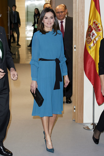 Queen Letizia complemented her dress with a pair of teal pumps by Magrit.