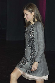 Queen Letizia of Spain kept it classy in a gray Carolina Herrera Prince-of-Wales-check dress with a floral-motif front while attending an International Congress.