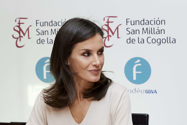Queen Letizia of Spain looked lovely with her flipped 'do while attending a journalism and language seminar.