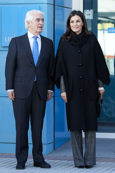 Queen Letizia of Spain headed to a UNICEF meeting wearing a chic black wool coat.