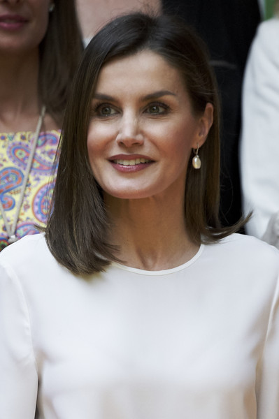 Queen Letizia of Spain Medium Layered Cut [hair,face,hairstyle,eyebrow,beauty,chin,lip,long hair,fashion,brown hair,queen,letizia,letizia attends,spain,madrid,mujeres por africa foundation,mujeres por africa foundation,event,event]