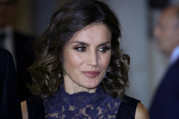 Queen Letizia of Spain Medium Curls [constitution,hair,face,eyebrow,hairstyle,beauty,lip,chin,lady,fashion,cheek,letizia,spanish,spain,madrid,auditorio nacional,spanish royals attend a concert to commemorate the 40th anniversary,concert]
