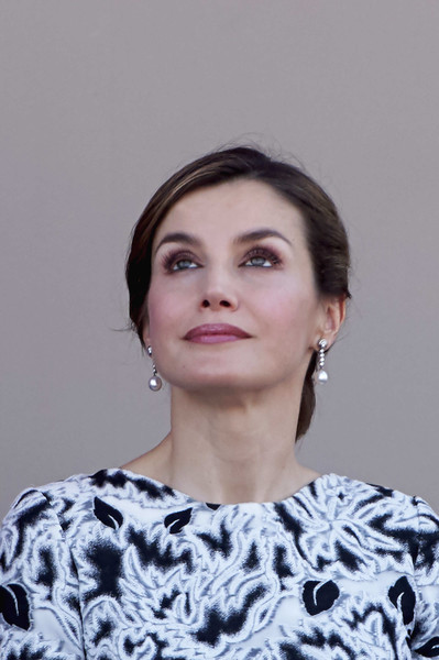 Queen Letizia of Spain Chignon [hair,face,eyebrow,hairstyle,lip,beauty,chin,lady,forehead,eye,royals,letizia,spanish,spain,guadalajara,armed forces,armed forces day]