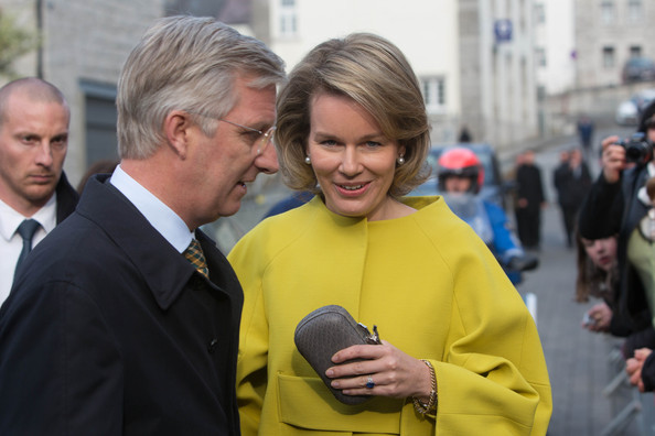 Queen Mathilde of Belgium Leather Clutch [mathilde of belgium,philippe of belgium,king,people,yellow,community,event,human,tourism,technology,outerwear,smile,crowd,namur,belgium,cerfontaine]
