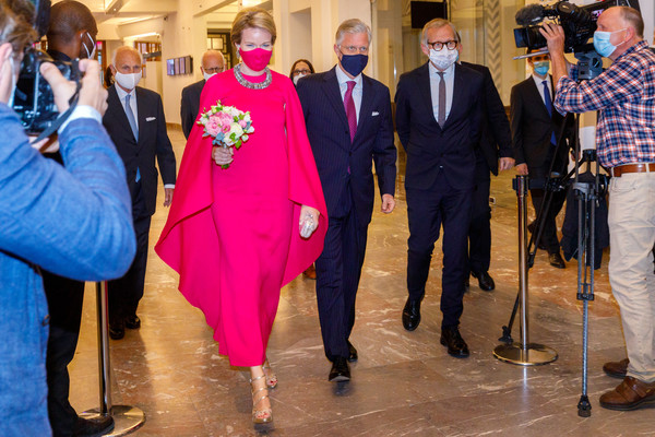 Queen Mathilde of Belgium Evening Dress [belgium royal family attends the preludium to the national day concert,event,pink,ceremony,fun,suit,formal wear,wedding,mathilde of belgium,philippe of belgium,socialite,masks,suit,brussels,the bozar palace for fine arts,ceremony,concert,ceremony,suit,socialite]