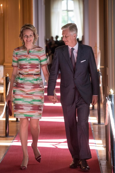 Queen Mathilde of Belgium Pumps [philippe of belgium,mathilde of belgium walk,queen,suit,clothing,fashion,event,dress,formal wear,red carpet,carpet,flooring,tuxedo,brussels,royal palace,belgium,inauguration of exhibitions in the royal palace,exhibitions,inauguration]
