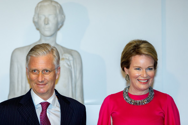 Queen Mathilde of Belgium Gemstone Statement Necklace [belgium royal family attends the preludium to the national day concert,face,head,human,event,neck,businessperson,team,mathilde of belgium,philippe of belgium,socialite,entrepreneur,preludium,communication,brussels,the bozar palace for fine arts,concert,public relations,communication,socialite,entrepreneur,public]