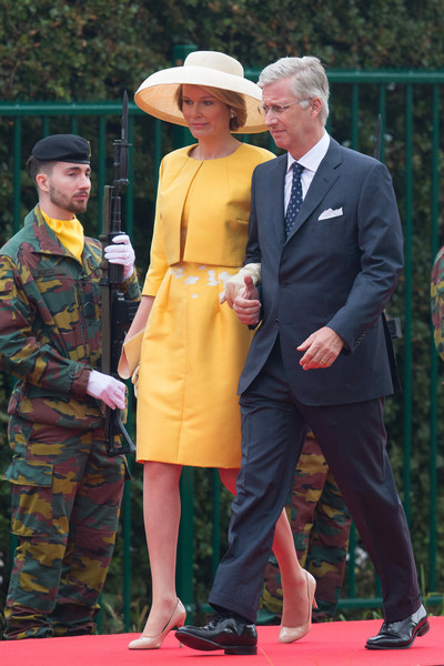 Queen Mathilde of Belgium Skirt Suit [the bicentenary of the battle of waterloo,event,carpet,red carpet,premiere,flooring,official,philippe,mathilde of belgium,re-enactors,belgian,belgian federal government,government,battle of waterloo,ceremony,ceremony]