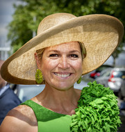 Queen Maxima topped off her look with a wide-brimmed straw hat.