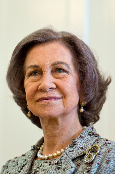 Queen Sofia Bob [sofia of spain,queen,face,hair,lady,skin,chin,smile,wrinkle,neck,glasses,london,spain,reina sofia cervantes institute library,england,inauguration,visit]