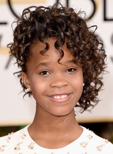 Quvenzhane Wallis Pinned Up Ringlets [hair,face,hairstyle,eyebrow,chin,forehead,lip,black hair,human,ringlet,arrivals,quvenzhane wallis,beverly hills,california,the beverly hilton hotel,annual golden globe awards]