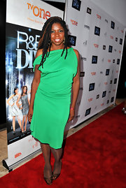 Nicki Micheaux opted for a bold and bright green frock for the premiere of 'R&B Divas.'