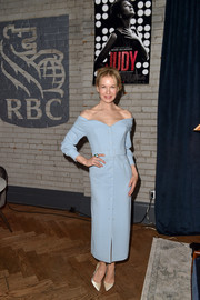 Renee Zellweger looked effortlessly elegant in a baby-blue off-the-shoulder dress by Ulyana Sergeenko at the 'Judy' cocktail party during TIFF.