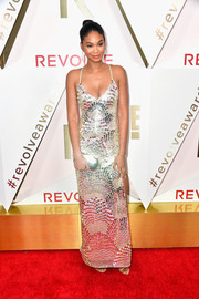 Chanel Iman radiated in a scallop-patterned paillette gown by NBD at the #REVOLVEawards.