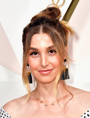 Whitney Port went for easy glamour with this messy top knot at the #REVOLVEawards.