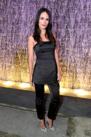 Jordana Brewster pairs her satin pants with a strapless top for a put-together look.