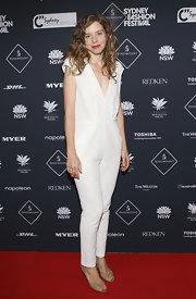 Bianca showed off her white sequined jumpsuit while hitting Australian Fashion Week.