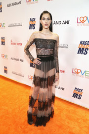 Amelia Hamlin grabbed attention in a lace-striped gown at the Race to Erase MS Gala.