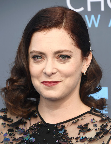 Rachel Bloom Medium Curls [hair,face,eyebrow,hairstyle,lip,chin,head,forehead,beauty,cheek,arrivals,rachel bloom,santa monica,california,barker hangar,annual critics choice awards]