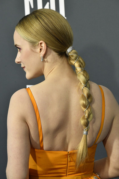 Rachel Brosnahan Long Braided Hairstyle [hair,hairstyle,long hair,blond,yellow,back,neck,shoulder,french braid,chignon,arrivals,rachel brosnahan,critics choice awards,barker hangar,santa monica,california,joel johnstone,25th critics choice awards,the marvelous mrs. maisel,rachel posner,screen actors guild award for outstanding performance by an ensemble in a comedy series,hairstyle,actor,ponytail,fashion,celebrity]