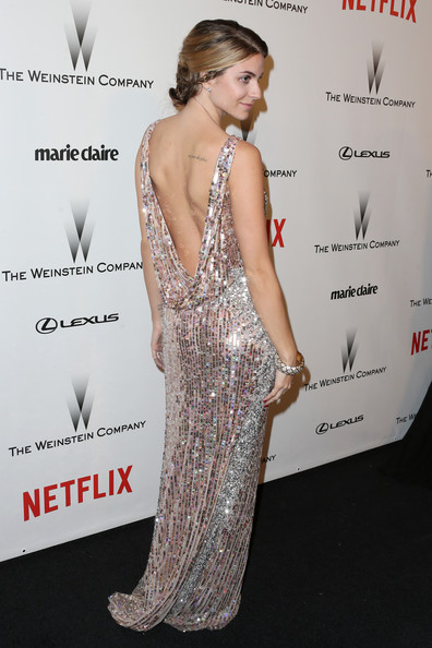 Rachel Mccord Beaded Dress [dress,clothing,shoulder,hairstyle,red carpet,cocktail dress,fashion,fashion model,carpet,premiere,rachel mccord,beverly hills,california,weinstein company,netflix,party,golden globes,robinsons may,arrivals]