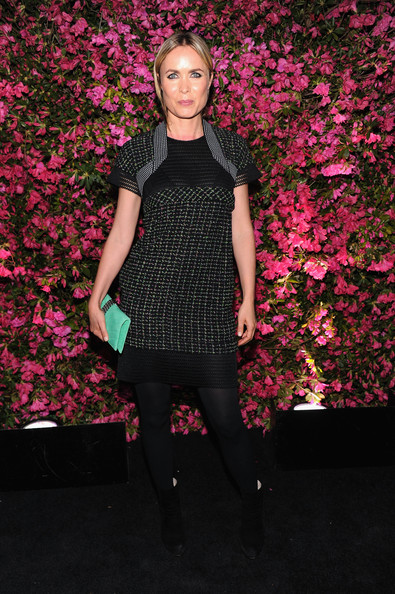Radha Mitchell Cocktail Dress [clothing,fashion model,pink,fashion,runway,dress,tights,flooring,magenta,pattern,arrivals,radha mitchell,new york city,chanel tribeca film festival artists dinner]