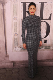 Priyanka Chopra was a stunner in a form-fitting houndstooth-patterned gown by Ralph Lauren during the brand's fashion show.