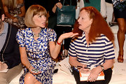 Grace Coddington wore a nautical inspired blue and white striped button-down shirt to the Ralph Lauren spring 2013 fashion show.