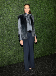 A blue fur vest added warmth and style to Stephanie Winston Wolkoff's ensemble at the screening of 'To Catch a Thief.'