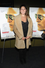 Stella Schnabel wore a wool coat at the NYC premiere of 'Rampart.'