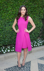 Emmy Rossum chose a Lyn Devon cocktail dress in a vibrant magenta hue for the Rape Foundation's annual brunch.