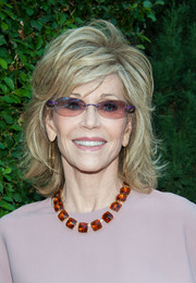 Jane Fonda dressed up her look with a gorgeous gemstone collar necklace.