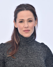 Jennifer Garner opted for a casual half-up hairstyle when she attended the Rape Foundation brunch.