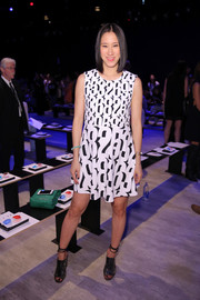 Eva Chen showed off her hip maternity style with this black-and-white number-print dress during the Rebecca Minkoff fashion show.
