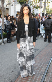 Camila Alves was hippie-glam in a studded suede jacket by Rebecca Minkoff layered over a printed maxi dress during the brand's 'See Now, Buy Now' fashion show.